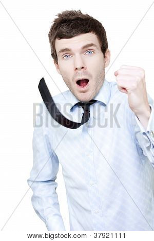 Isolated Businessman Running On White Background