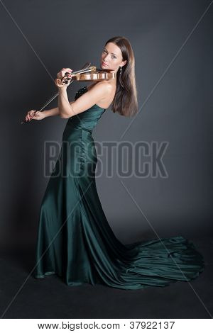 Violinist In An Evening Dress