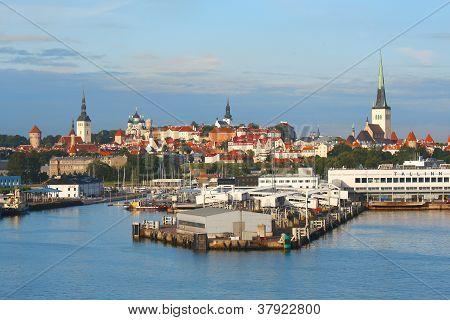 Tallinn With Sea Harbour
