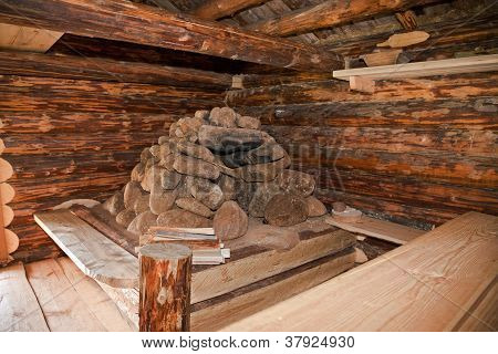 Hearth At The Ancient Traditional Russian Wooden House