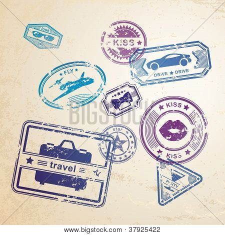Grunge stamps design elements