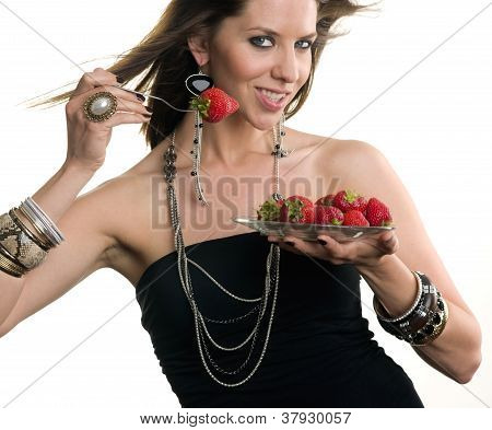 Woman Eats Raw Fruit