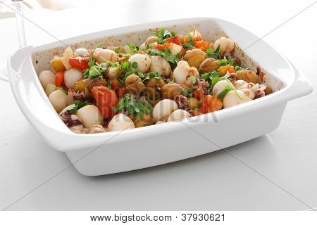 Cuttlefish Dish With Chestnuts.