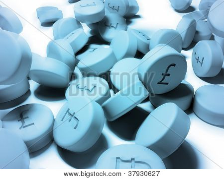 Blue Tablets With Pound Symbol