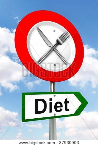 Diet Red And Green Road Sign With Fork And Knife