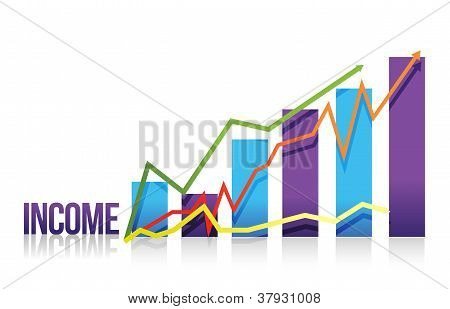 Income Colorful Graph Illustration