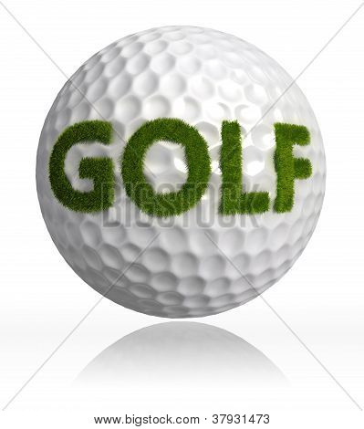 Golf Grass Word On Ball