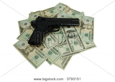 Stack Of Money And Gun