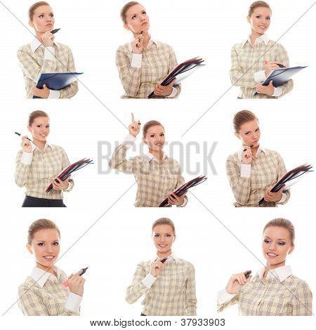Collage de imágenes mujer Office Manager con carpetas