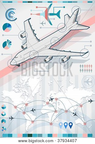 Infographic Set Elements With Airplane In Various Colors