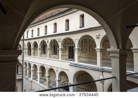 Courtyard Castle Arcades In Pieskowa Skala