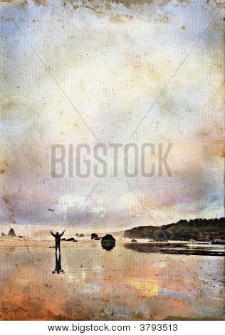 Man With Arms Up To Sky On A Grunge Background