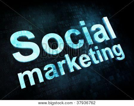 Marketing concept: pixelated words Social marketing on digital s