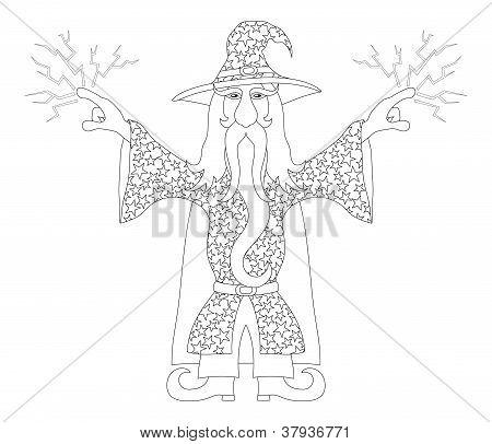 Wizard lança raios, contorno