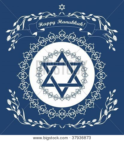 Jewish Hanukkah Holiday Background With Magen David Star -  Vector Illustration