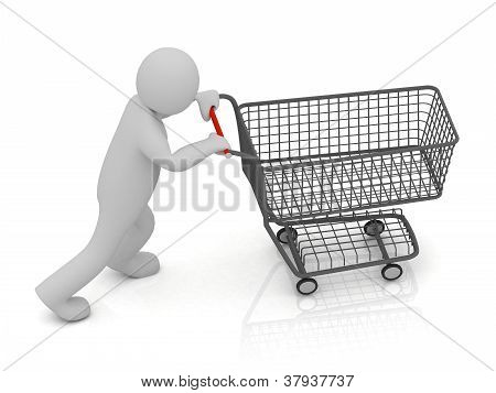 3D Small Man And Shopping Trolley