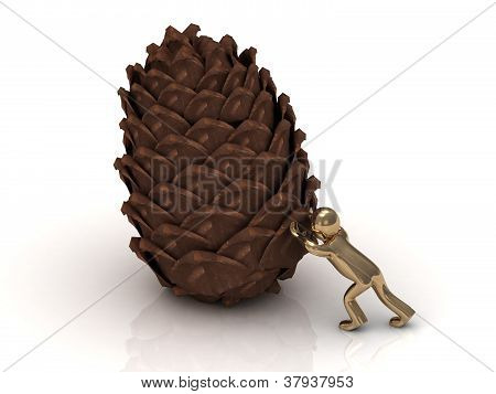 Golden 3D Man Pushes Pine Cones