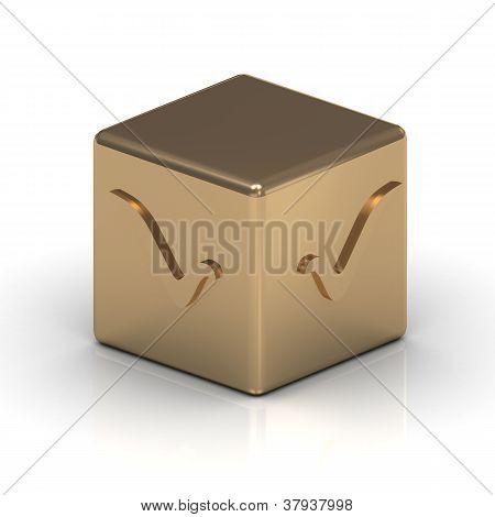 Cubo de oro con una marca de verificación