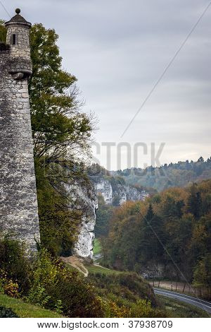 Medieval Tower And Old Castle In Pieskowa Skala