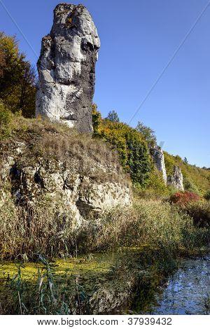 Limestone Rock Called Maczuga Herkulesa In Poland