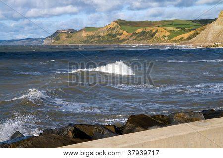 West Bay beach Dorset and Dorset coastline