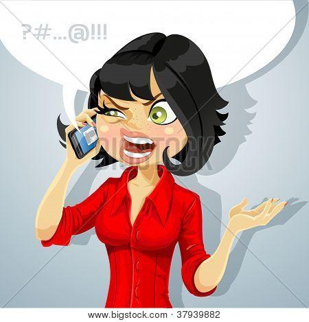 Linda chica hablando por teléfono algo desagradable