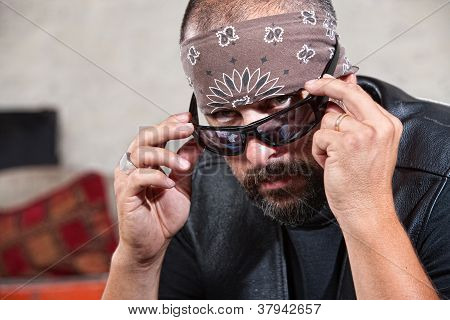 Biker with Bandanna and Sunglasses