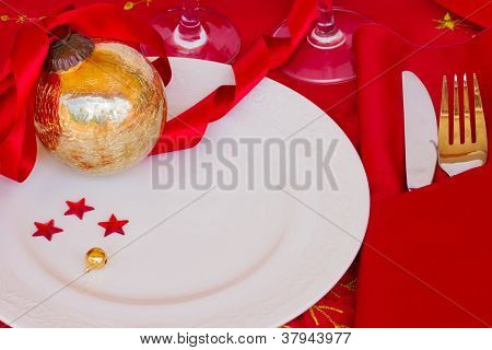 table served for christmas party