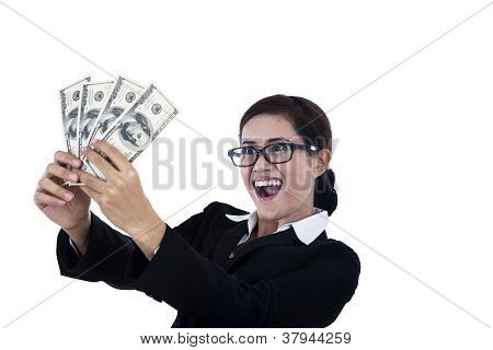 Business Woman Holding Dollars And Make Some Money!