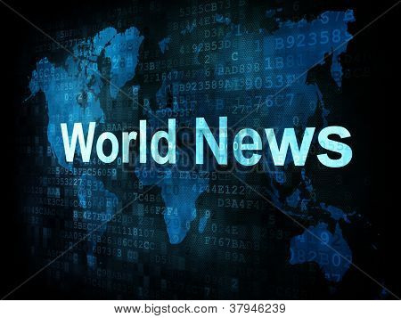 News and press concept: pixelated words World News on digital sc