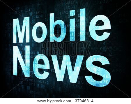 News and press concept: pixelated words Mobile News on digital s