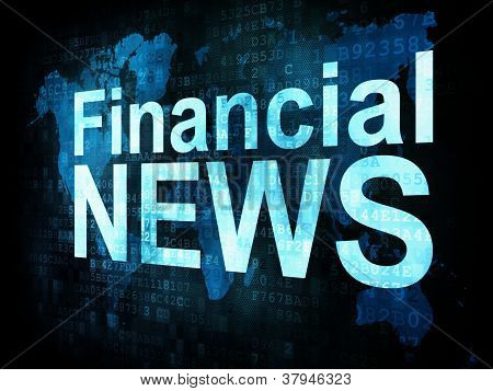News and press concept: pixelated words Financial NEWS on digita