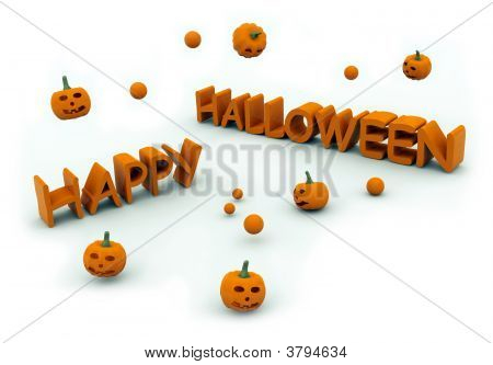 Happy Halloween Text With Jumping Pumpkins