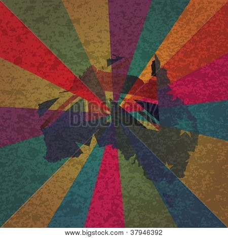 Australia Flag In Map With Rays Texture Background