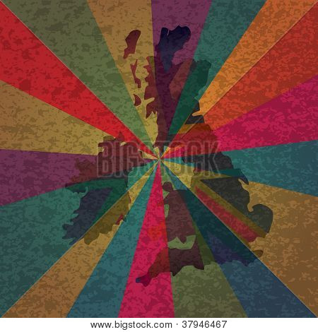 Uk Breat Britain Flag On Rays Background