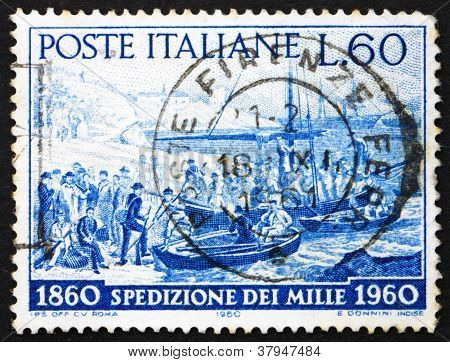 Postage stamp Italy 1960 Volunteers embarking, Quarto,Genoa