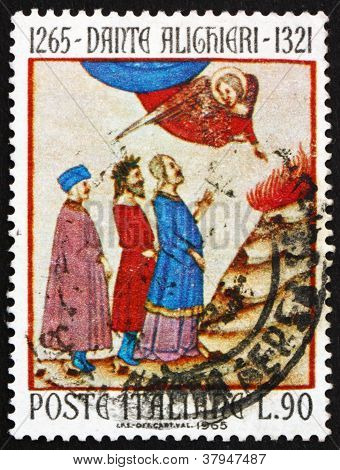 Postage stamp Italy 1965 Dante in Purgatory, Dante Alighieri,poet
