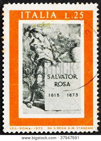 Postage stamp Italy 1973 Title Page for Book about Salvator Rosa