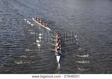 BOSTON - OCTOBER 21: Everett Rowing Association tries to pass Eton Rowing races in the Head of Charl