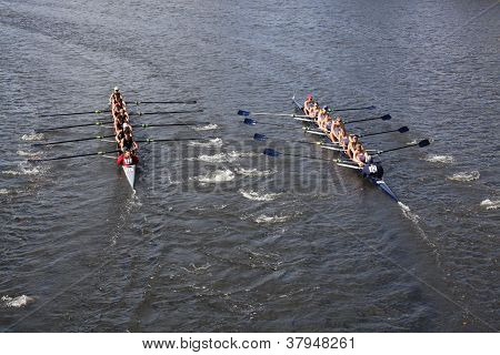 BOSTON - OCTOBER 21: Canisius High School (R) and Saugatuck Rowing Club(L) race in the Head of Charl