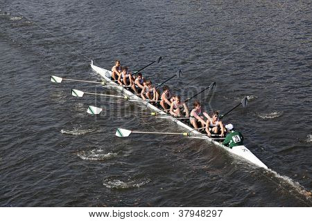 Essex Rowing Club races in the Head of Charles Regatta