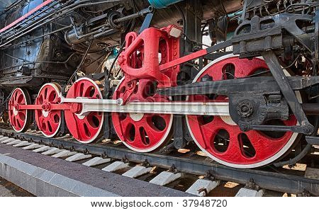 Old Steam Locomotive Engine Wheel And Rods Details