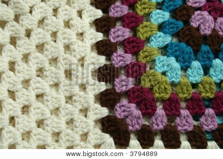 Part Of Knitted Wool With Different Color