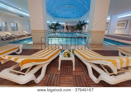 Indoor Pool At A Luxury Hotel