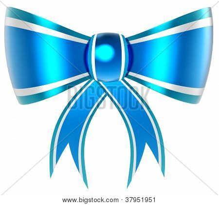 blue with silver gift bow