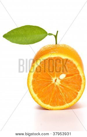 One Orange And Slice On White