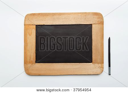Old Vintage  Wooden Frame Blank Slate And Pencil