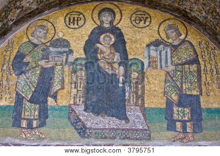 Mosaic Figure Of Virgin Mary And Baby Jesus