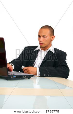 Young Business Man In Front Of Laptop