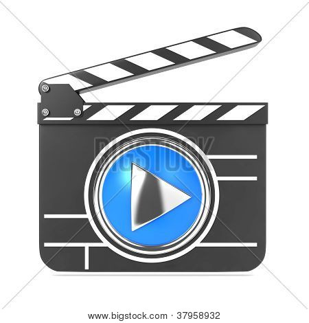 Clapboard with Blue Screen. Media Player Concept.